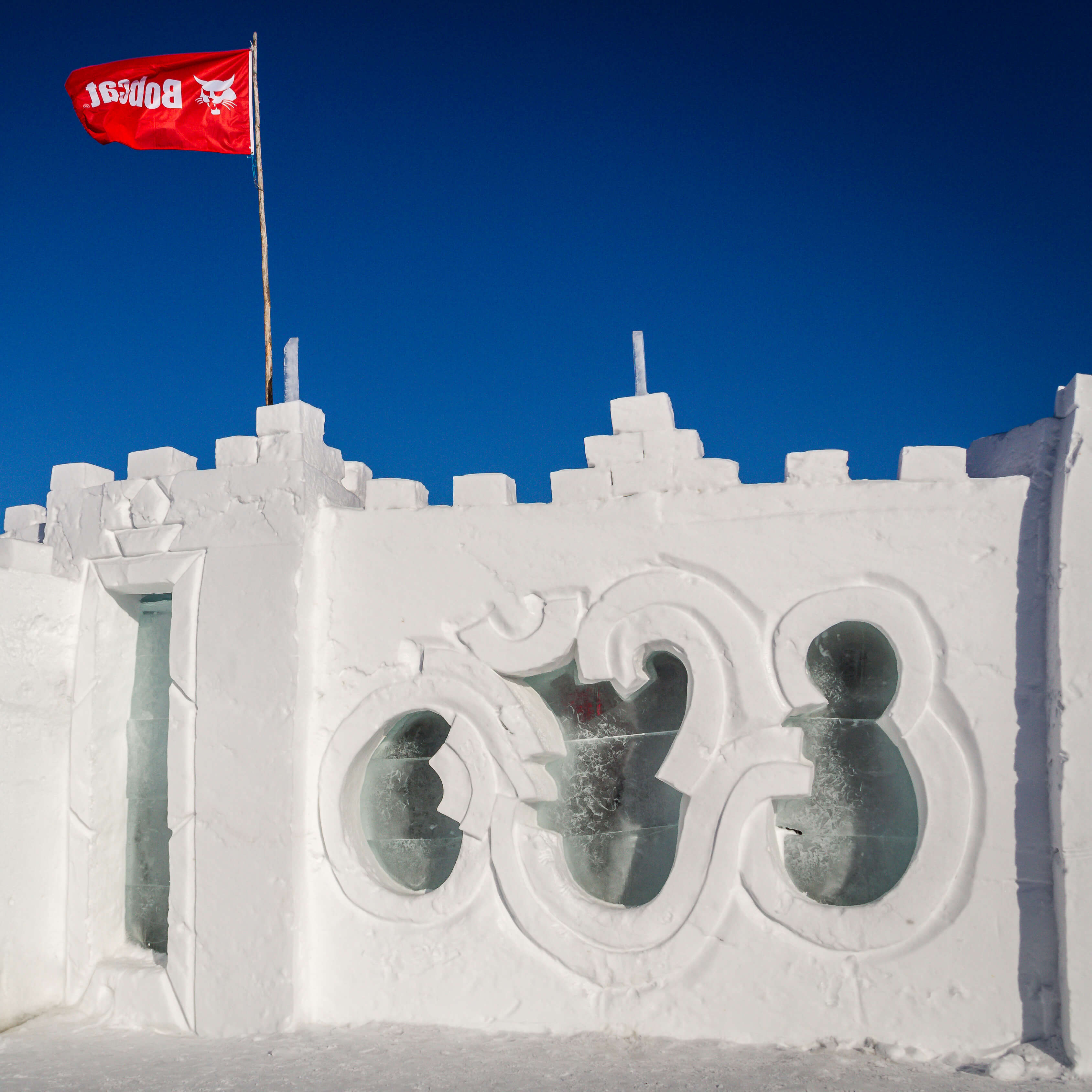 The Snowkings Winter Festival famous Snow Castle in Yellowknife、NWT