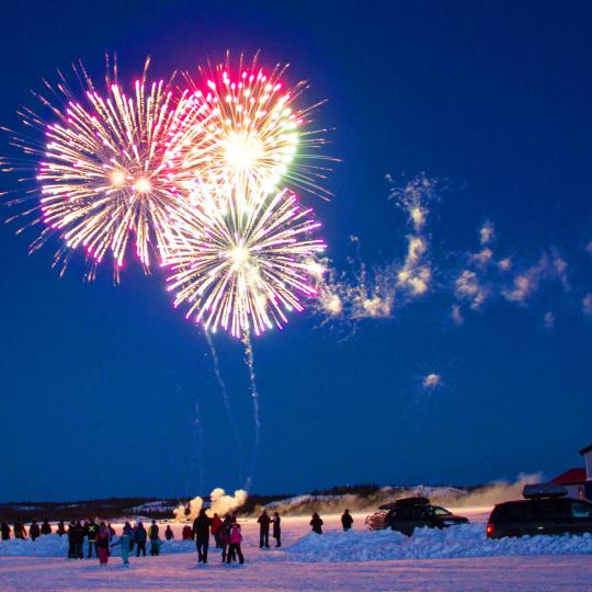 Fireworks over Great Slave Lake in the Northwest Territories
