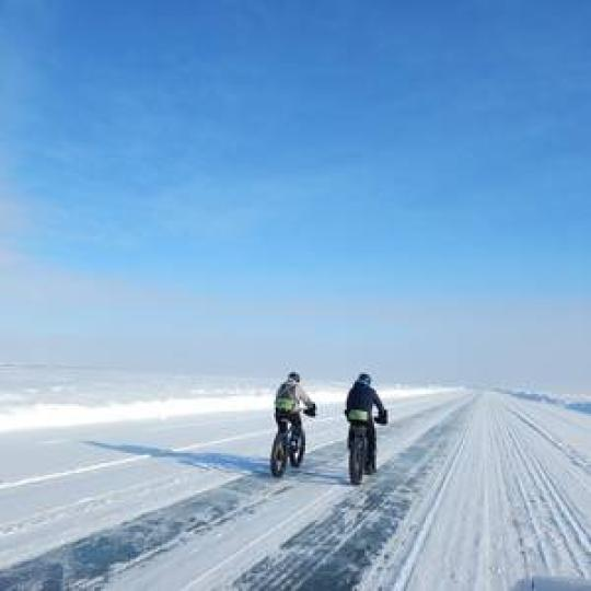 fatbiking tour on ice road