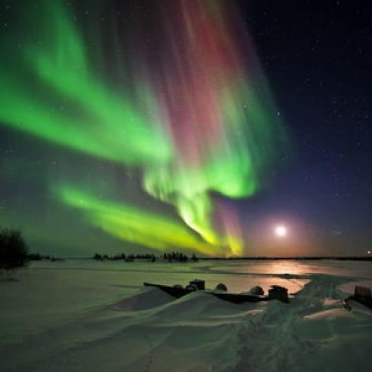Aurora over the snow