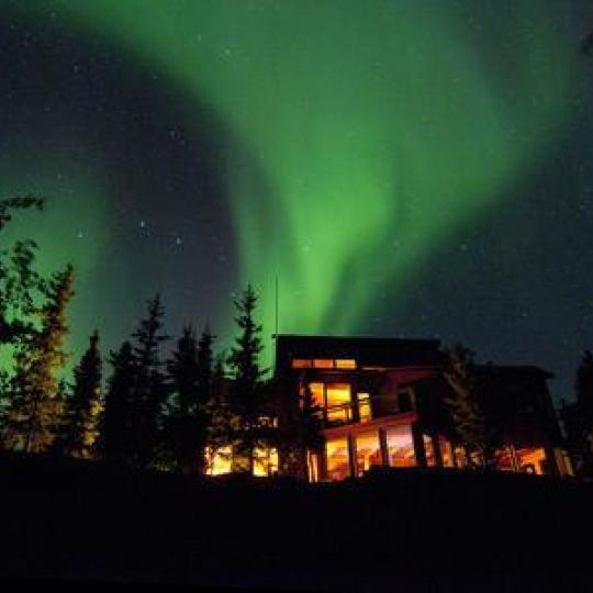 Aurora over Blachford Lake Lodge
