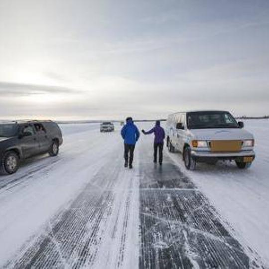 walking along the ice road