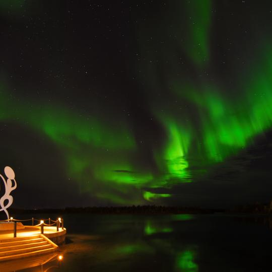 Aurora over Frame Lake in Yellowknife