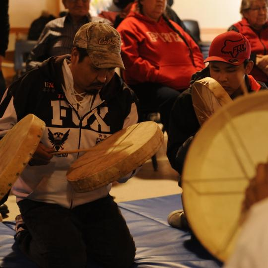 Dene Drummers at an event in Hay River, NWT