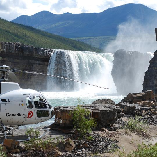 Carcajou Falls in the Mackenzie Mountains