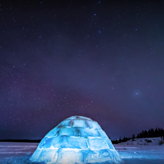 glowing ice igloo