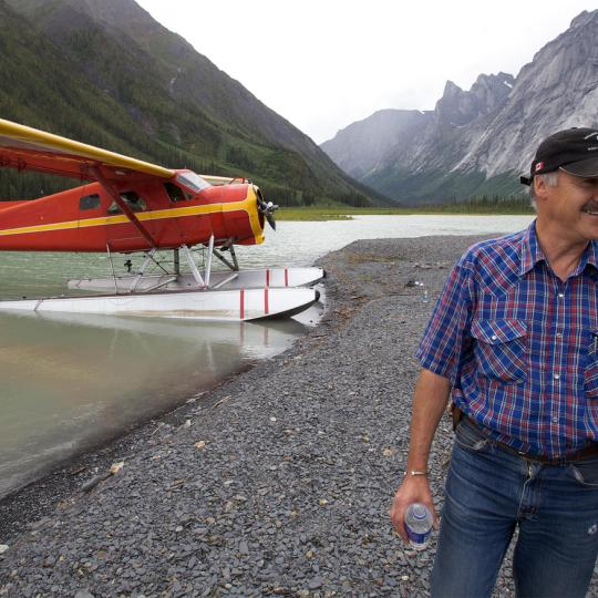 Ted Grant of Simpson Air, Nahanni National Park Reserve with floatplane