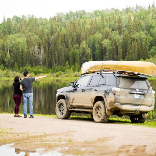 A couple taking a roadtrip in the Northwest Territories