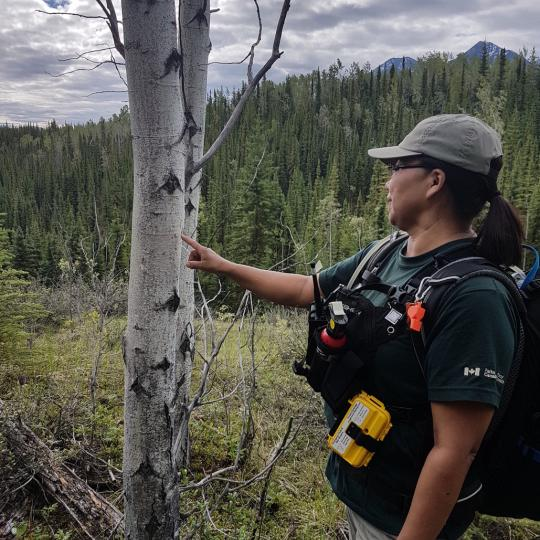 Pauline Campbell an interpreter at Nahanni National Park reserve hikes in the spectacular Northwest territories