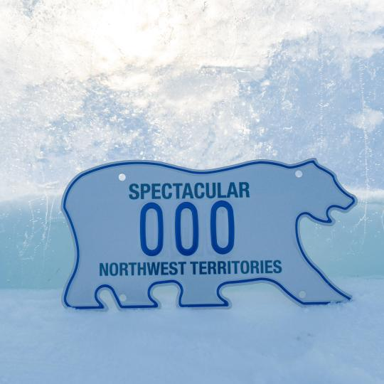 The iconic Northwest territories polar bear license plate