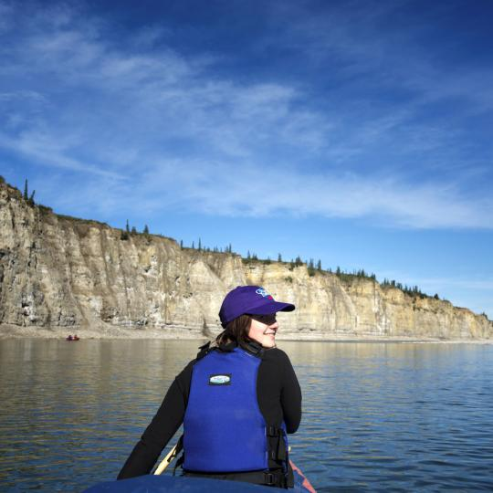 woman canoeing in the Northwest Territories