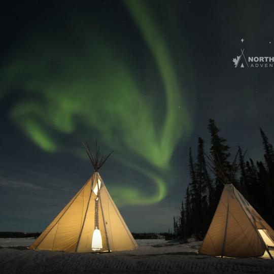 North Star Adventures two teepees glowing with the green aurora overhead in the sky in Yellowknife, NWT.