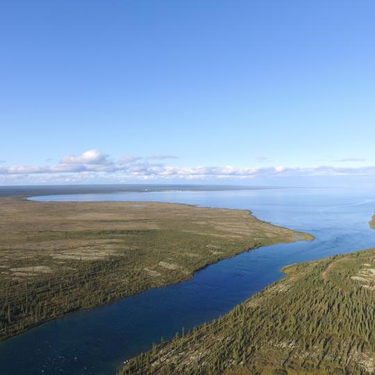 Aerial view of the Great Bear Lake in the NWT taken by Sahtu Adventures in the NWT.