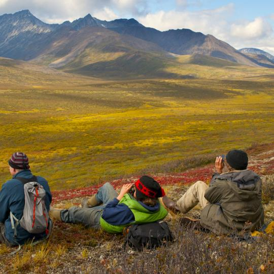 Taking a breather on the CANOL Trail, one of the wildest hikes in all of Canada, found in the Sahtu Region of the Northwest Territories.