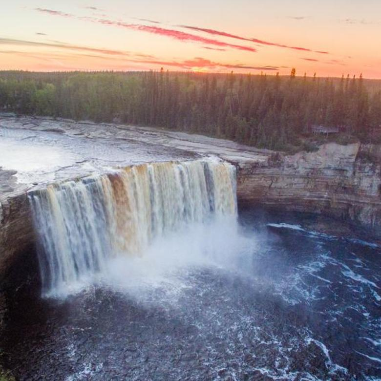 Colin field image of waterfalls in the South Slave of the NWT