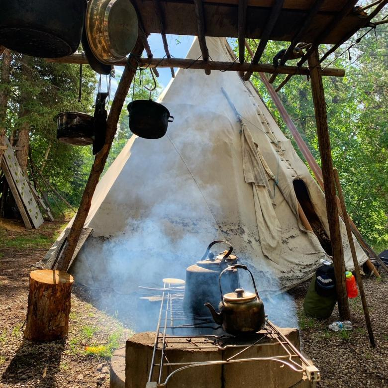 Indigenous Teepee and work camp in the Northwest Territories