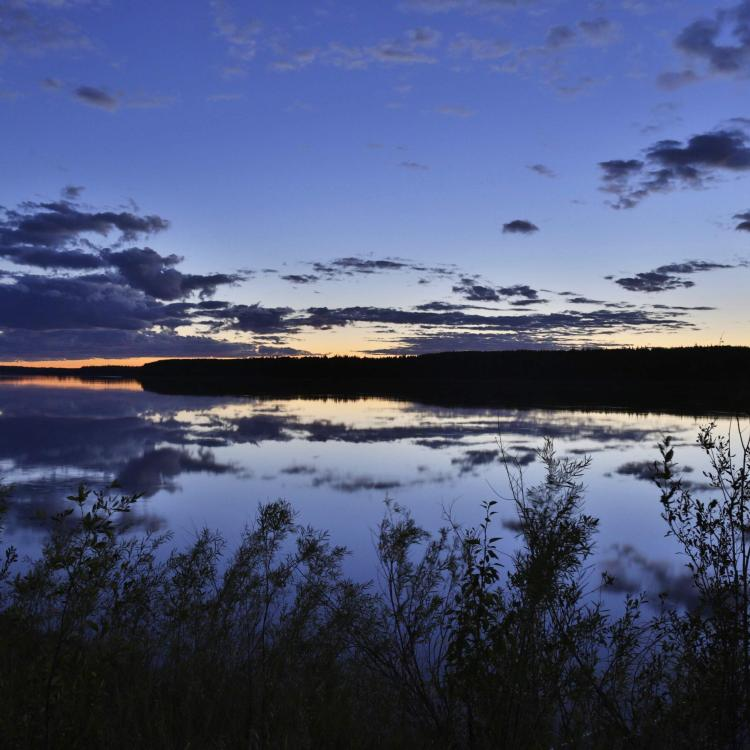 The Slave Lake at dusk in Fort Smith, NWT.