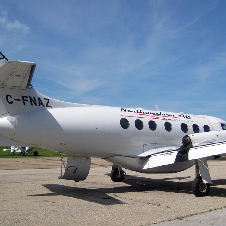 Northwestern Air Lease British Aerospace Jetstream 31 parked on the runway in Hay River Northwest Territories.