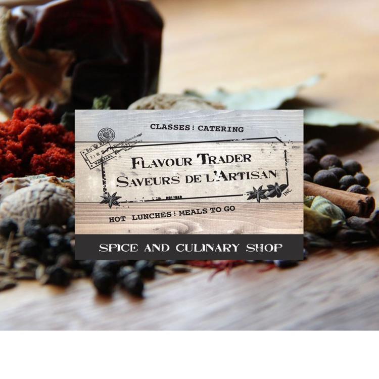 Flavour Trader Saveurs de L'Artisan restaurant logo and paprika, black peppercorns, cinnamon, and cardomom spices casual dining in Yellowknife, Northwest Territories.