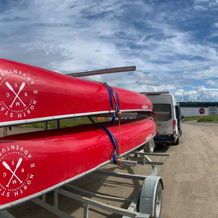 North Star Adventures Red canoes in Yellowknife, NWT.