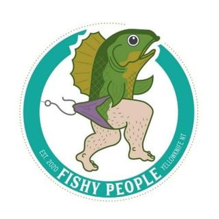 Fishy people logo with half fish and half man running away with hook on purple underwear, Yellowknife, NWT