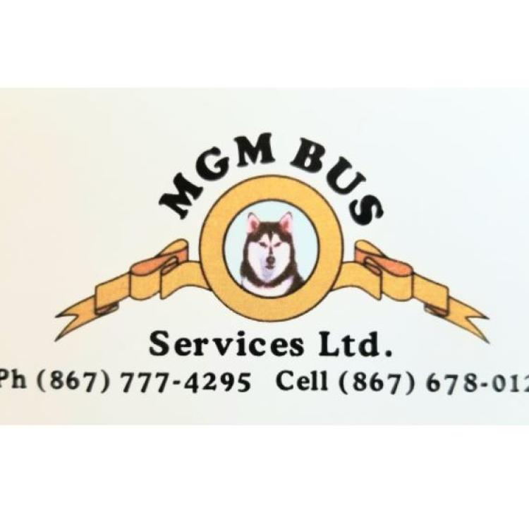 MGM Bus Services logo with Husky and a gold ribbon in Inuvik in the NWT.