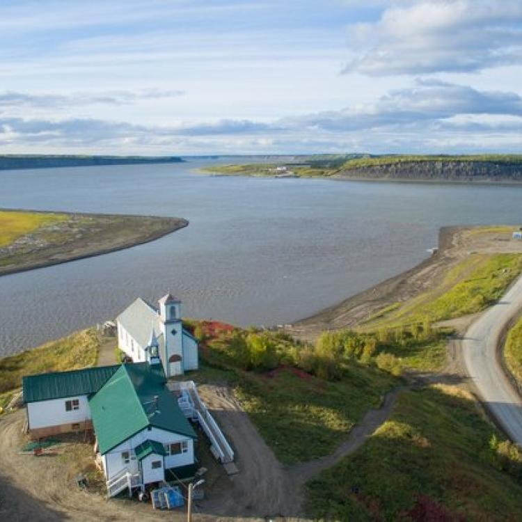 Tsiigehtchic Tourist centre and aerial view of community in the Western Arctic in the NWT.