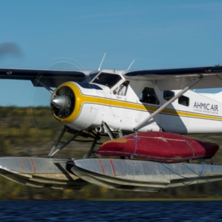 Ahmic Air De Havilland Canada DHC-2 Mk. I Beaver plane in Northwest Territories Canada.