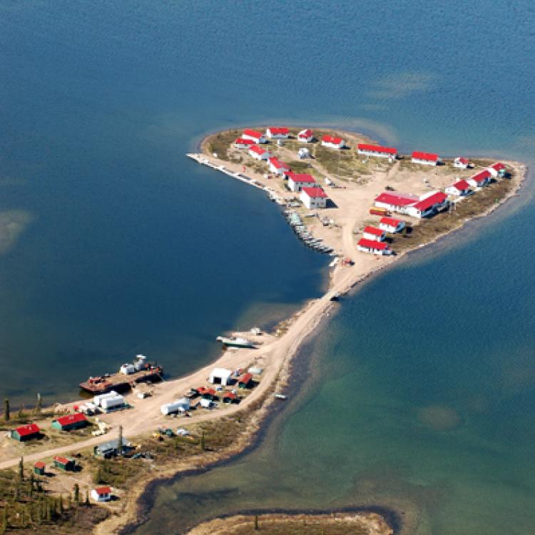 Dease Arm of Great Bear Lake aerial shot showing the lodge and surrounding water in the Northwest Territories.