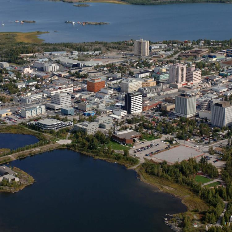 Aerial view of the City of Yellowknife, NWT