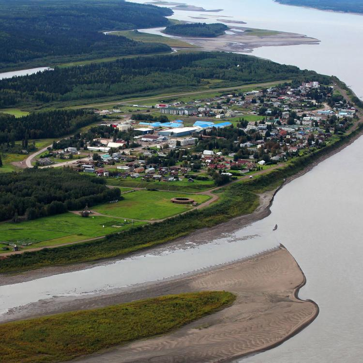 Aerial of Fort Simpson on the Mackenzie River