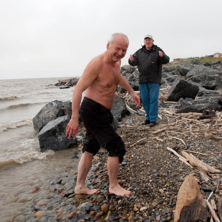 Man 'taking a dip' in the Arctic Ocean