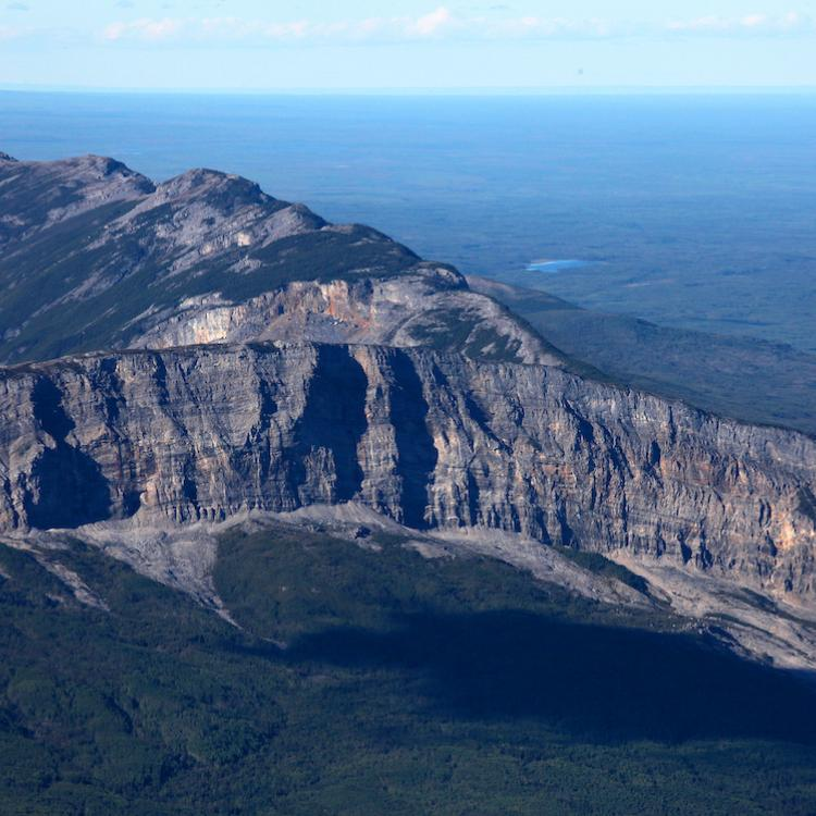 Aerial  view of the mountain of Nahanni Butte in the Northwest Territories