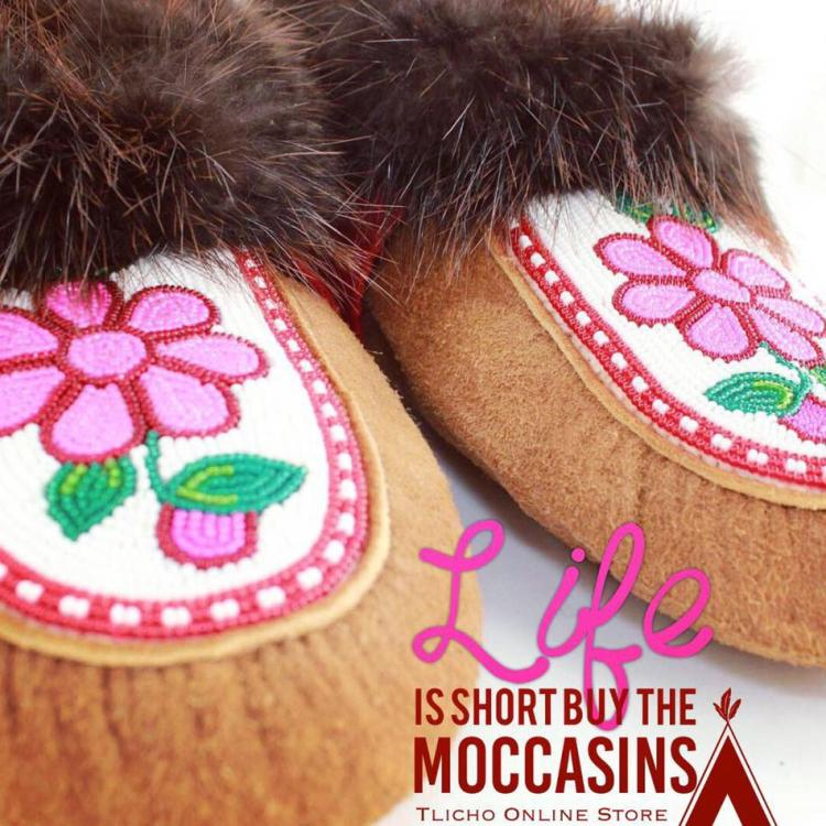 Tlicho Online Store moccasins with flower beading and fur trim Indigenous craftsmanship in the Northwest Territories.