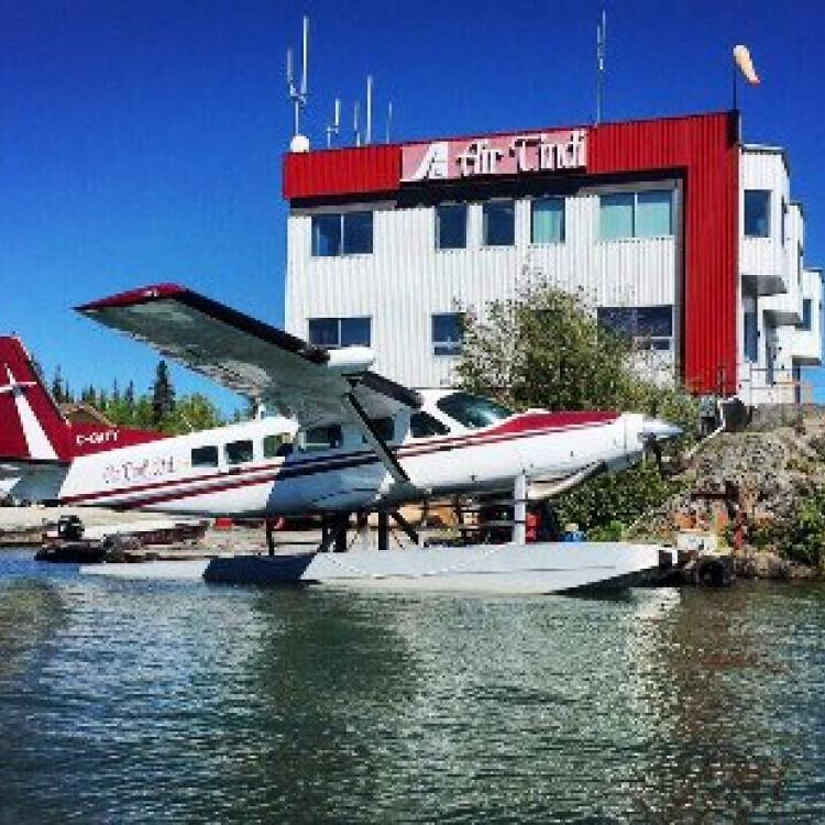 Air Tindi Terminal on Latham Island with De Havilland Canada DHC-6 Twin Otter in Yellowknife Northwest Territories.