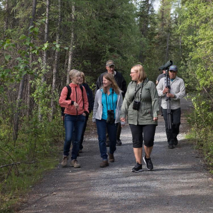 My Backyard Tours city tour with visitors on a trail in Yellowknife in the Northwest Territories.
