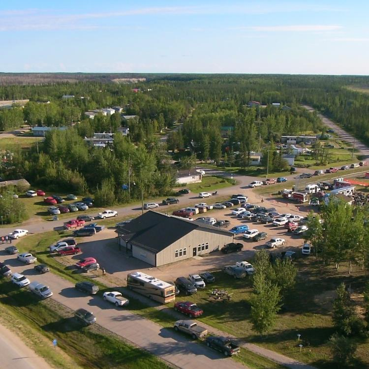 Cliff Climble's aerial photo of Enterprise on a sunny day in the Northwest Territories.