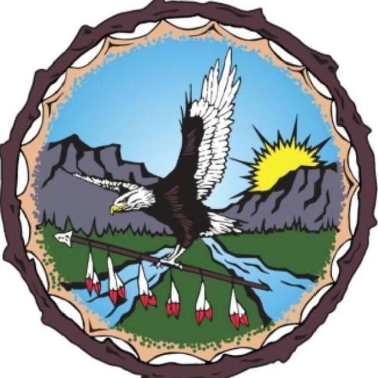 Łı́ı́dlı̨́ı̨́ Kų́ę́ First Nation logo with an eagle flying between the Nahanni mountains in the Northwest Territories.