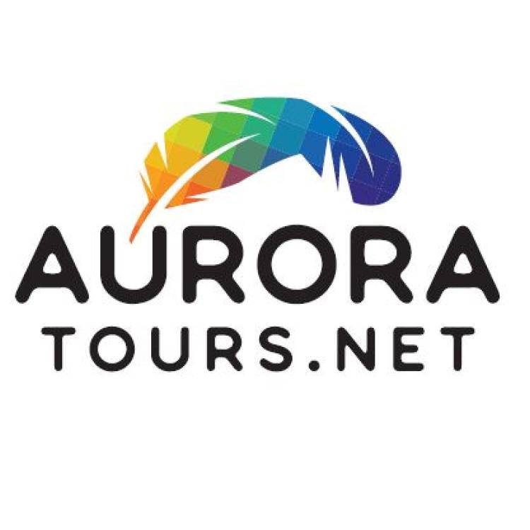 AuroraTours.net logo with a rainbow feather business in Ndilǫ NWT.