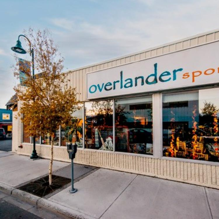 Overlander Sports store exterior view with store name at sunset in Yellowknife, NWT.