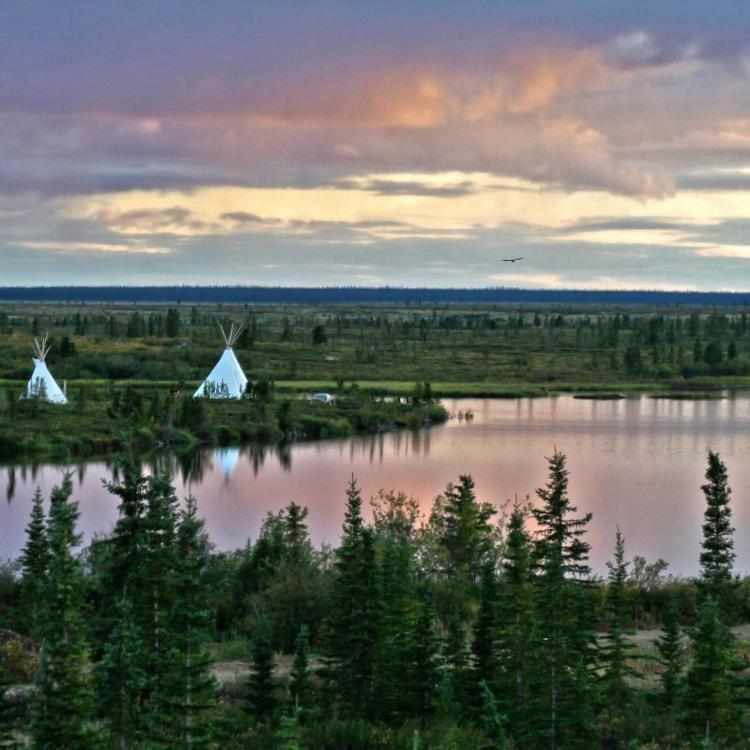 Teepees on the shore of Great Bear Lake