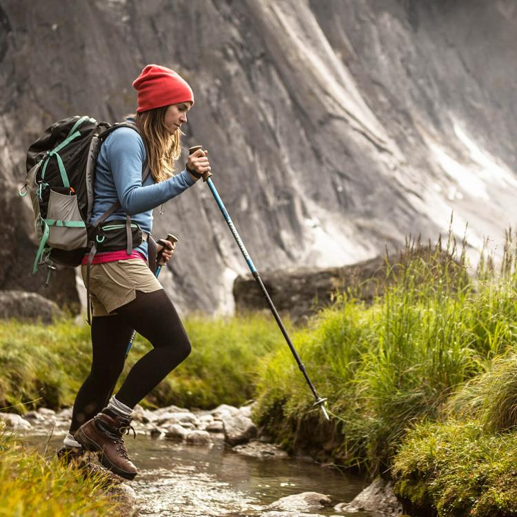 woman hiking the Fairy Meadows in Nahanni National Park
