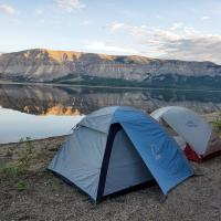 Tents set up around Kelly lake trip by North-Wright Airways in the NWT.