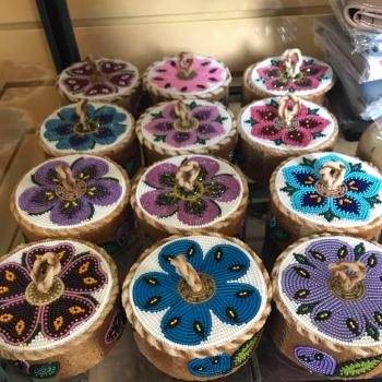 North Country Inn woven Indigenous arts birch wood baskets with flower pattern in Hay River in the NWT.