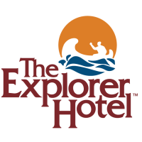 The Explorer Hotel red, yellow, and blue logo that shows water and paddler in a canoe.