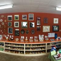 Wide angle view of Snowshoe Inn giftshop in Fort Providence Northwest Territories.