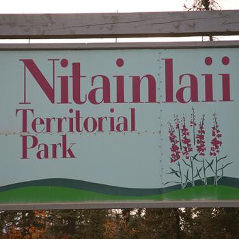 Nitainlaii Territorial Park Campground Signage in the Western Arctic in the NWT