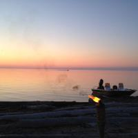 View of the Great Slave Lake in Hay River by 2 Seasons Adventures campgrounds and yurt.
