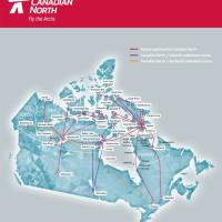 Canadian North Route Map showing routes all across Canada.
