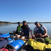 North Star Adventures paddlers in canoes on the Mackenzie River.